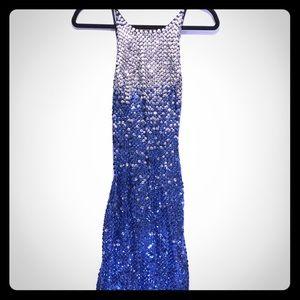 Cache Sparkle Sequin Blue Ombré Mermaid Dress 6